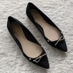 Vince Camuto Black Leather Suede Flats Shoes